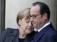 Angela Merkel ao lado do presidente François Hollande