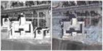 Na imagem, santuário para Uwais al-Qurani e Ammar bin Yasser, em Raqqa. Todos os três túmulos do lado de fora, incluindo os seus minaretes e uma seção das ligações entre as arcadas foram destruídas