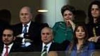 Dilma Rousseff, presidente do Brasil, e Joseph Blatter, presidente da Fifa, não discursaram na abertura da Copa do Mundo.