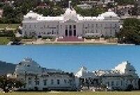Palácio presidencial antes e depois do terremoto