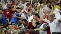 England supporters cheer during their 2014 World Cup Group D soccer match against Italy at the Amazonia arena in Manaus June 14, 2014. REUTERS/Siphiwe Sibeko (BRAZIL  - Tags: SOCCER SPORT WORLD CUP)