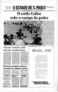 Foi também em 1990 que o Brasil teve seu primeiro presidente eleito por voto direto após 20 anos de ditadura militar. Sob o apelido de 'Caçador de Marajás', Collor assumiu o poder em 15 de março daquele ano e no dia seguinte instituiu o Plano Collor, que visava estabilizar a inflação.