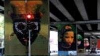 Máscaras Afro-Brasileiras. Colagens gráficas do artista plástico Renato da Silveira foram afixadas em vinte pilares sob o Minhocão, o Elevado Costa e Silva.