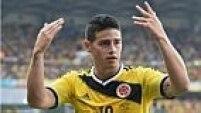 Já nos acréscimos, James Rodríguez fechou o placar em 3 a 0 para os colombianos