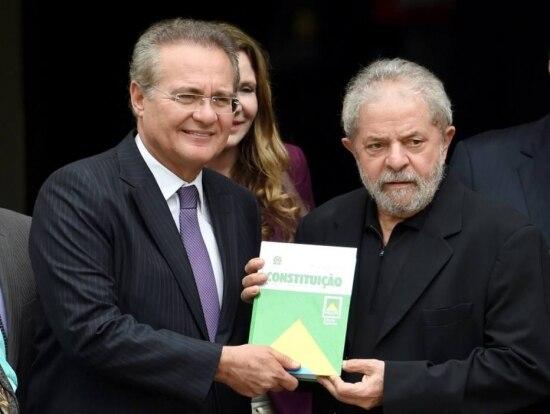 O presidente do Senado Renan Calheiros e o ex-presidente Lula
