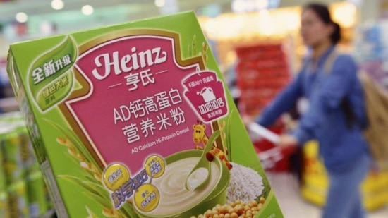 A box of Heinz AD Calcium Hi-Protein Cereal, which is part of a batch of the cereal not affected by a recent recall, is pictured at a supermarket in Hangzhou, Zhejiang province in this August 18, 2014 file photo. U.S. food maker H.J. Heinz Co. apologised to Chinese consumers and said it would tighten controls over suppliers after it was forced to recall some infant cereal from store shelves due to excess levels of lead. The entanglement of H.J. Heinz Co. in China's latest food scare highlights a key concern for international and local firms - how to keep track of ingredients from diverse sources in a country where food supply tracing technologies are far from the norm.   REUTERS/Stringer/Files (CHINA - Tags: HEALTH FOOD BUSINESS POLITICS) CHINA OUT. NO COMMERCIAL OR EDITORIAL SALES IN CHINA