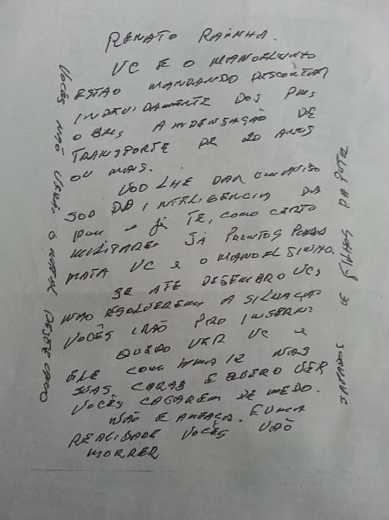Carta anônima ameaça de morte o presidente e o conselheiro do Tribunal de Contas do DF