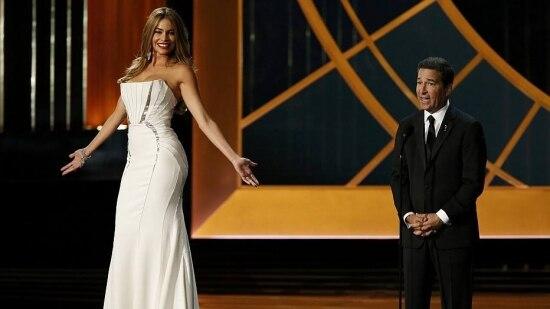 Polêmica. Performace de Sofia Vergara em pedestal, durante o Emmy 2014, foi criticada