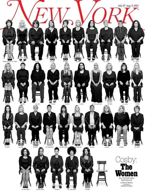 Na capa.35 mulheres, entre as 46 que acusam Bill Cosby de estupro, estampam a revista