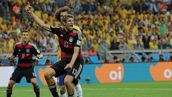 Thomas Müller fez o primeiro gol alemão na goleada germânica no Mineirão