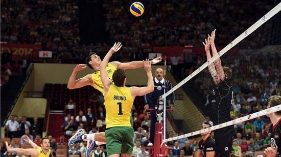 Sem dificuldades, a seleção brasileira de vôlei bateu a Alemanha na estreia do Mundia