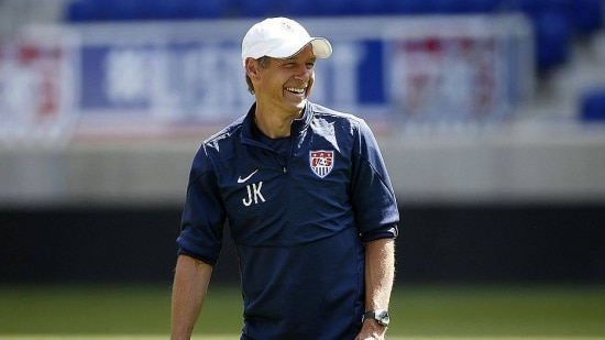Jurgen Klinsmann, head coach of the U.S. men's national soccer team, laughs during a team training session in Harrison, New Jersey, May 30, 2014. REUTERS/Mike Segar   (UNITED STATES - Tags: SPORT SOCCER WORLD CUP)