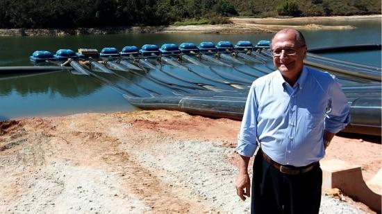 Alckmin visitou a Represa do Atibainha, um dos reservatórios do Sistema Cantareira que tem nível crítico