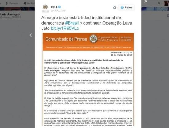 Comunicado da Organização dos Estados Americanos (OEA)