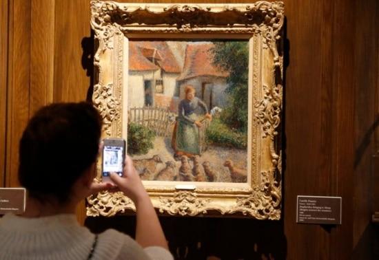 Quadro 'La bergère rentrant des moutons', de Camille Pissarro