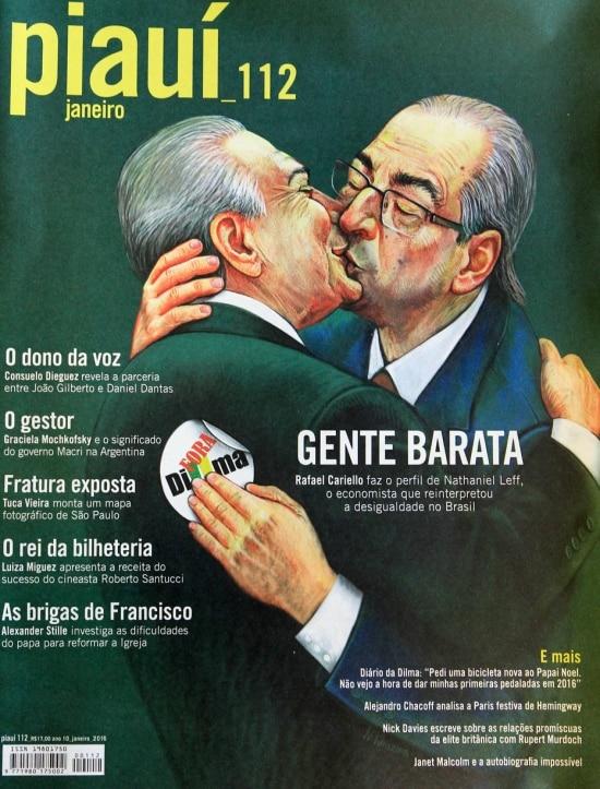 Capa da revista 'Piauí' de janeiro mostra Michel Temer e Eduardo Cunha se beijando, ilustração feita pela artista russa radicada nos EUA Nadia Khuzina