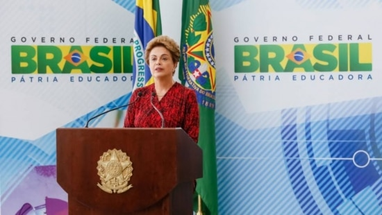 A presidente Dilma Rousseff durante cerimônia de sanção do Marco Legal da Ciência, Tecnologia e Inovação
