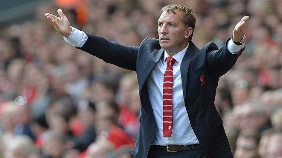 PP. Liverpool (Great Britain), 17/08/2014.- Liverpool's manager Brendan Rodgers reacts during the English Premier League soccer match at Anfield, Liverpool, Britain, 17 August 2014. EFE/EPA/PETER POWELL DataCo terms and conditions apply. https://www.epa.eu/downloads/DataCo-TCs.pdf
