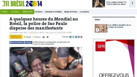 Portal do Le Monde destaca ação da Polícia contra manifestantes