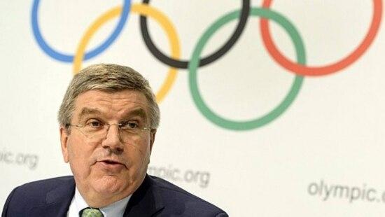 Thomas Bach, em coletiva sobre escândalo de doping daAgência Mundial Antidoping (Wada)