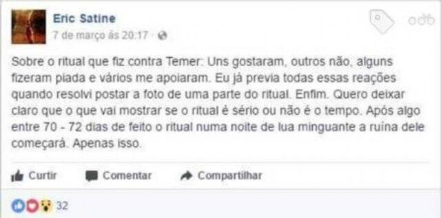 Post de Eric Satine no dia 7 de março 'acertando' o dia exato da ruína de Michel Temer