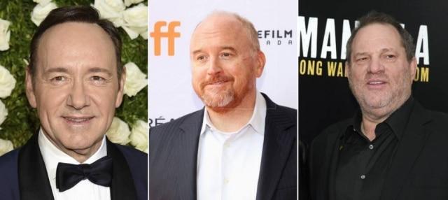 Kevin Spacey, Louis C.K. e Harvey Weinstein são acusados de numerosos casos de abuso e assédio sexual
