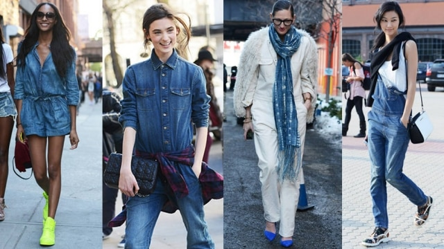 A jardineira jeans agora ganha ares mais sérios na companhia de camisas masculinas, por baixo, e casacos alongados por cima