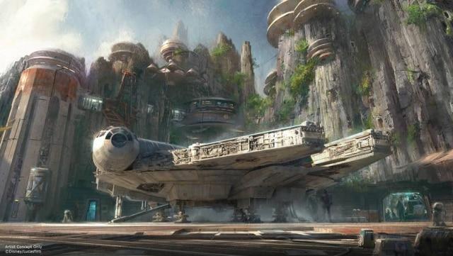 Ilustração de uma das áreastemáticas de 'Star Wars' nos parques da Disney.