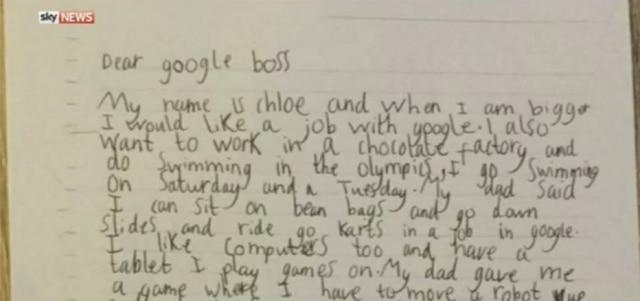 Parte da carta de Chloe