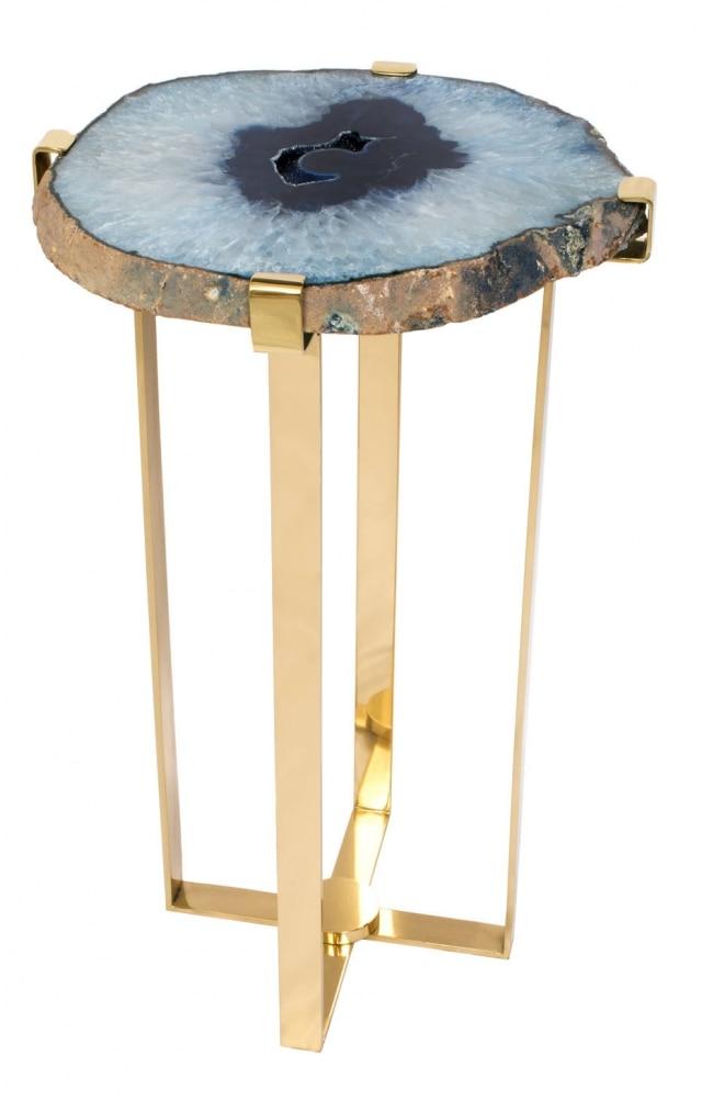 Mesa lateral com tampo de ágata e estrutura de latão polido