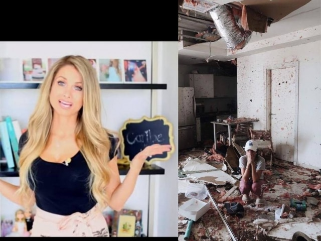 Lorrayne Mavromatis em um de seus vídeos no YouTube e no post em que mostra seu apartamento destruído