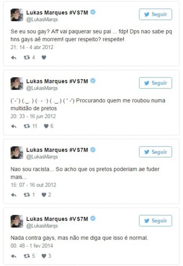 Tweets do youtuber Lukas Marques