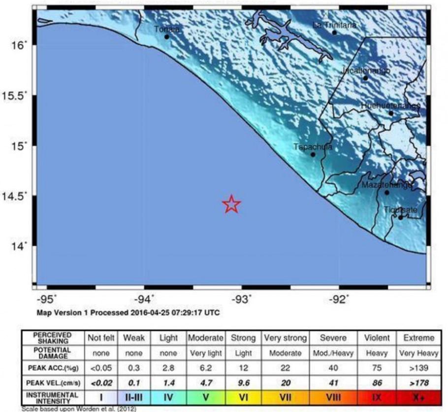 Mapa do Serviço Geológico dos Estados Unidos detalha local do tremor e intensidade com que ele foi sentido no México - EFE/Usgs