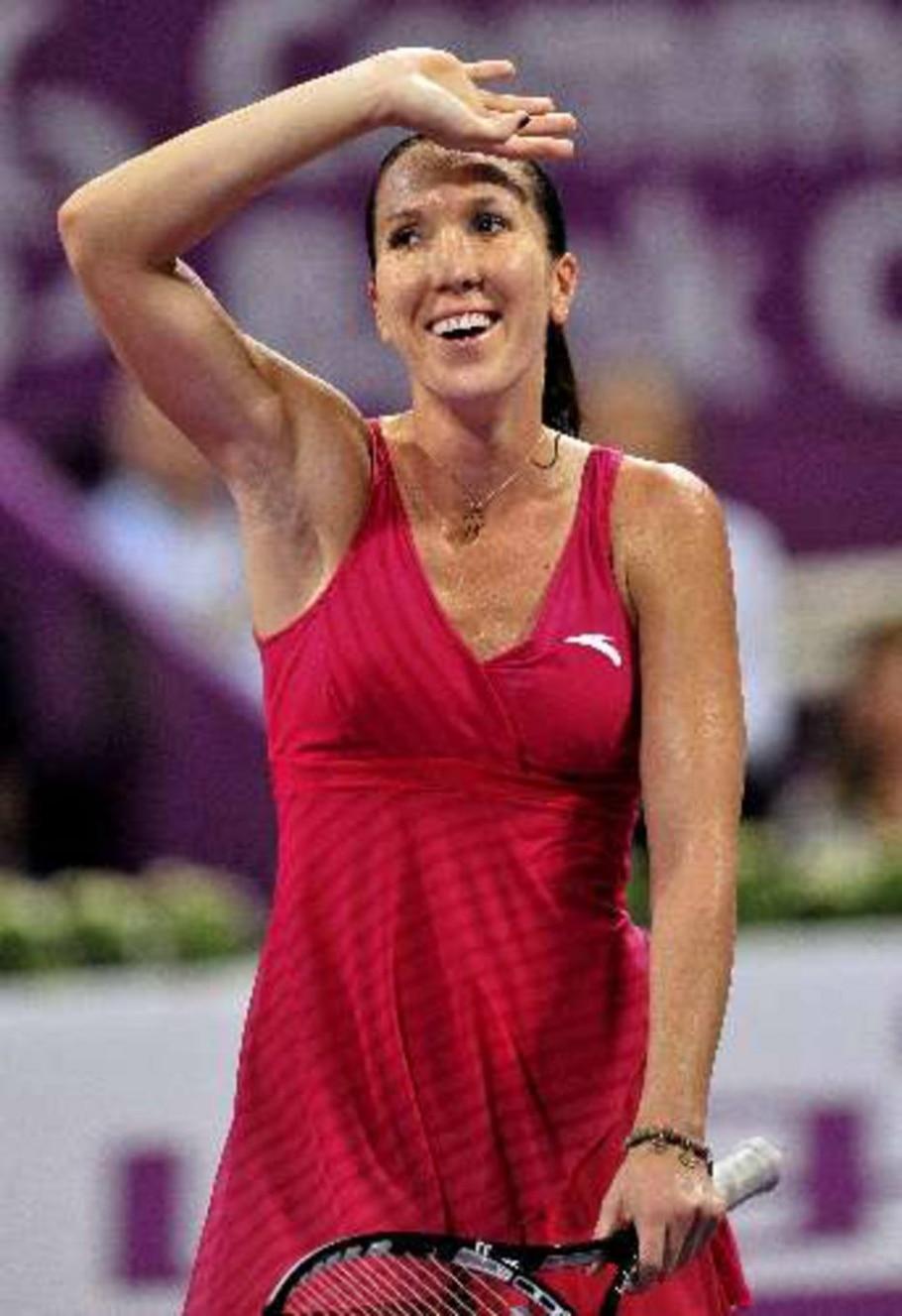 Sérvia Jelena Jankovic comemora classificação à semifinal em Doha - EFE