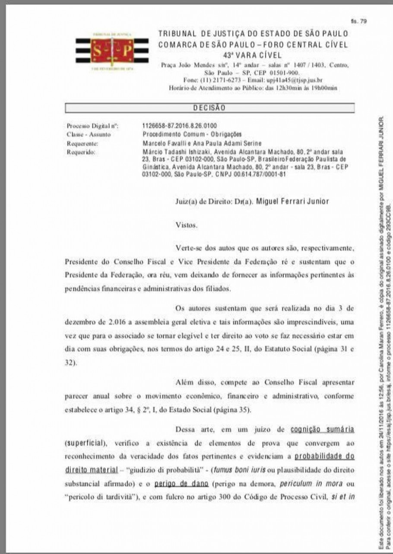 Eleição presidencial da Federação Paulista de Ginástica é remarcada para 17 de dezembro - Reprodução