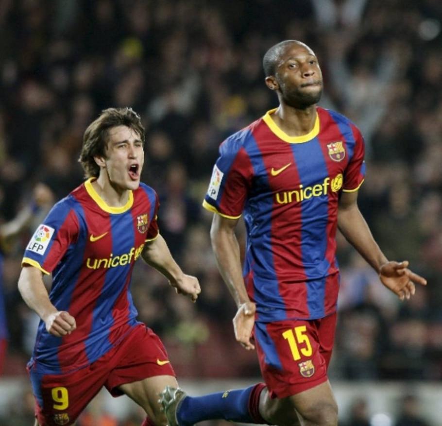 Keita comemora o gol da vitória do Barcelona sobre o Zaragoza - Toni Garriga/EFE - 5/3/2011