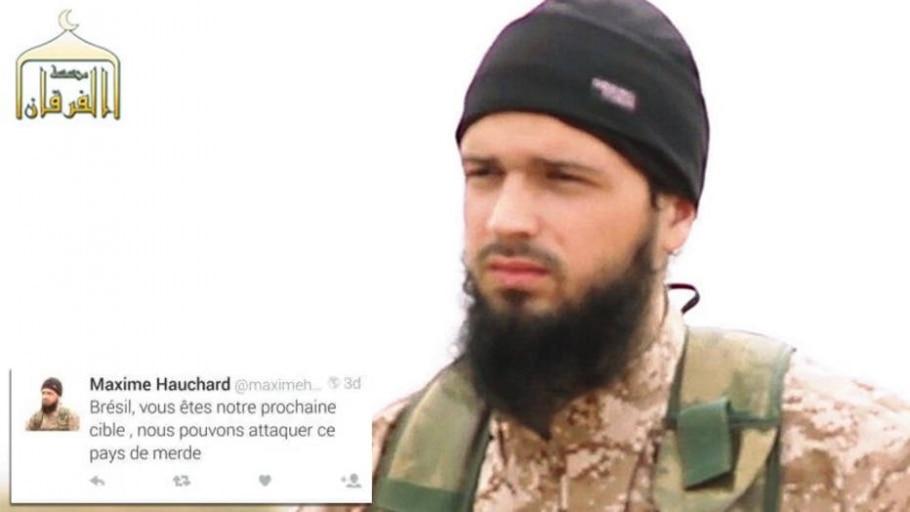 Imagem de Maxime Hauchard capturada de vídeo de propaganda do EI; no destaque, o tuíte ameaçando o Brasil - Reprodução