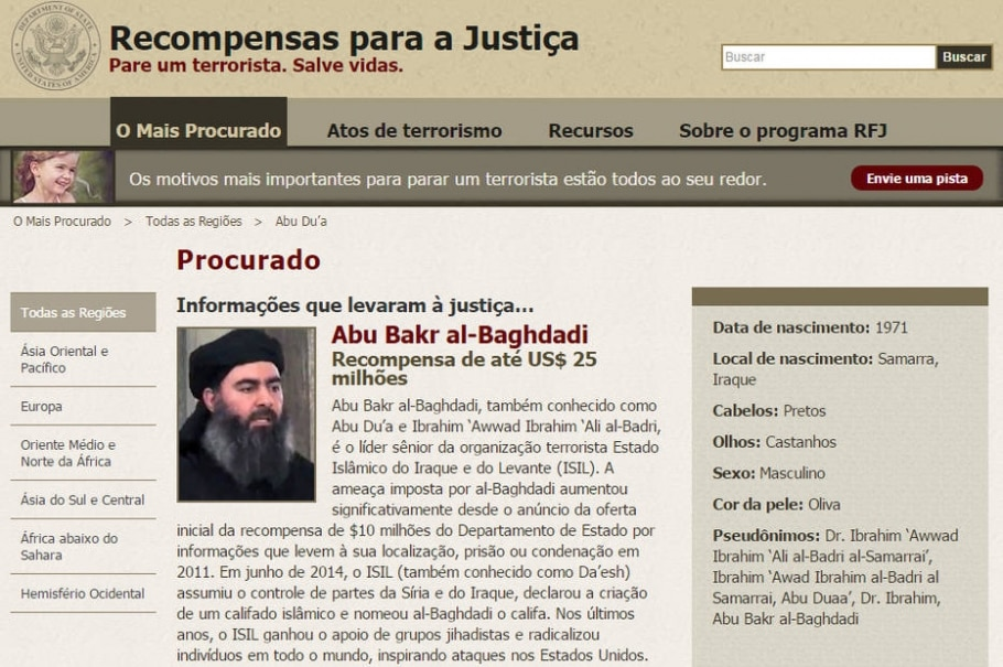 Perfil de Abu Bakr al-Baghdadi no site do Programa de Recompensas para a Justiça, que aumentou para US$ 25 milhões o pagamento por informações que levem ao líder do EI - Reprodução