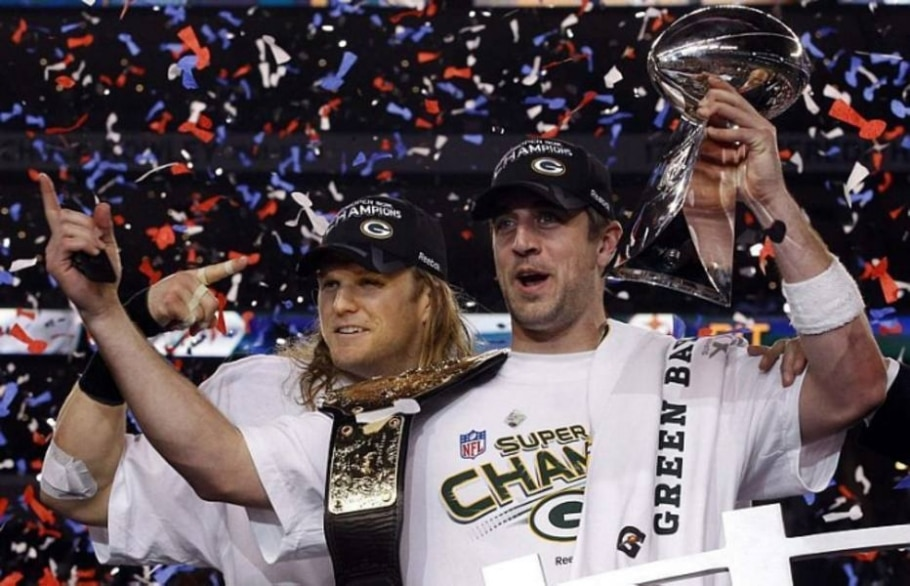 Aaron Rodgers e Clay Matthews comemoram o título dos Packers - Brian Snyder/Reuters