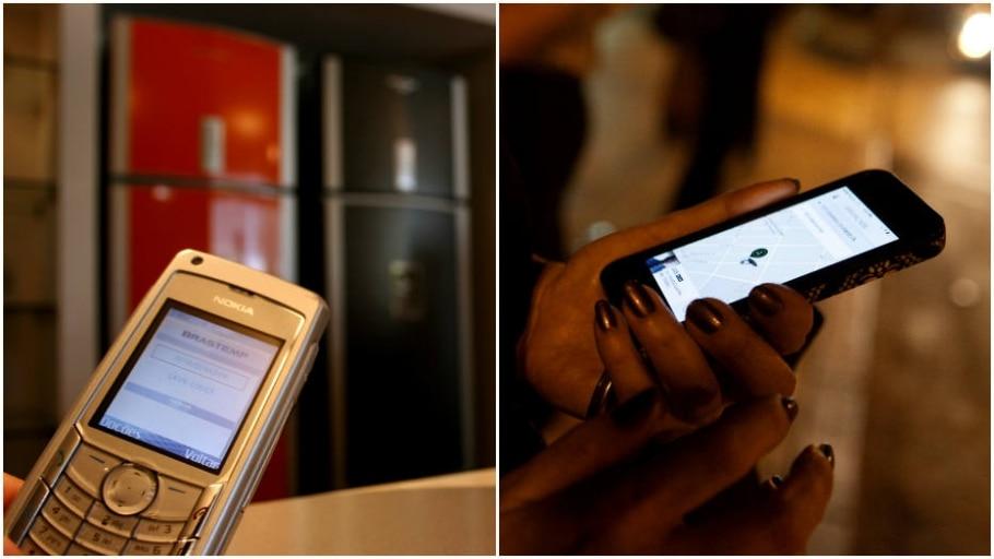 Evolução do celular ainda com teclas à esquerda e um smartphone atual - Montagem: Vivi Zanatta-Estadão/Emily Berl-NYT