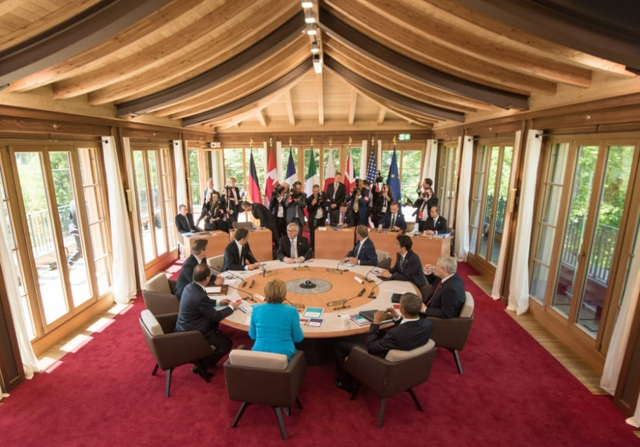 Líderes se encontram na Alemanha para o G-7 - Peter Kneffel/Pool Photo via AP