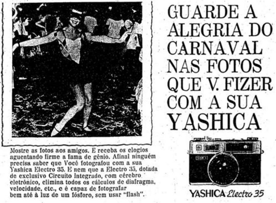 Anúncio de máquina fotográfica da Yashica (1969) - Acervo/ Estadão