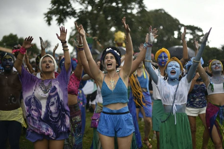 Bloco de Krishna - AFP PHOTO/DOUGLAS MAGNO