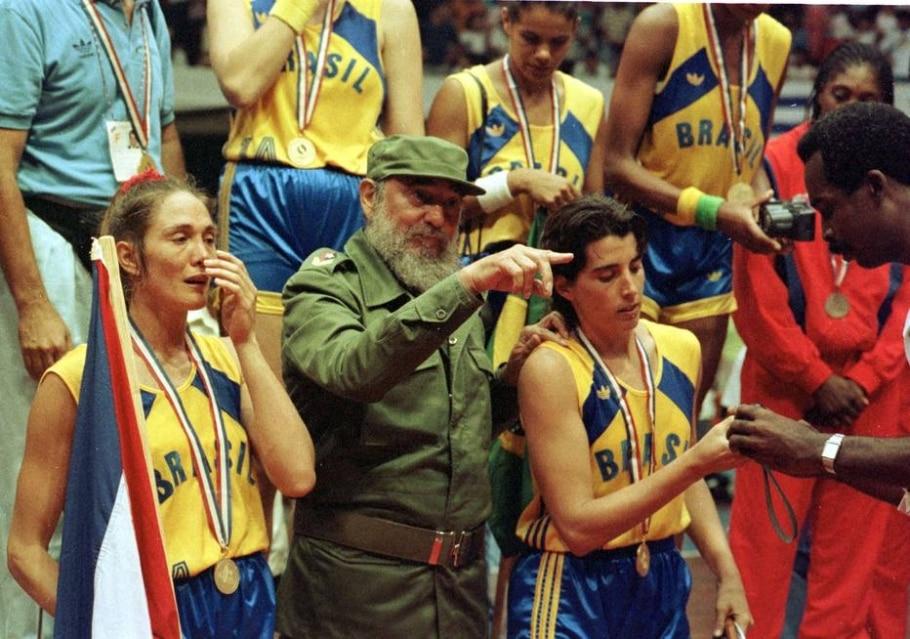 Fidel Castro, Hortência e Paula - Sérgio Berezovsky/ Estadão