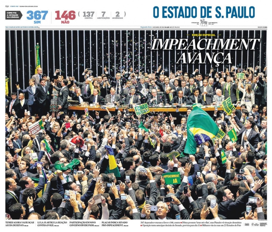 Capa Estadão - 18/4/2016 - estadão