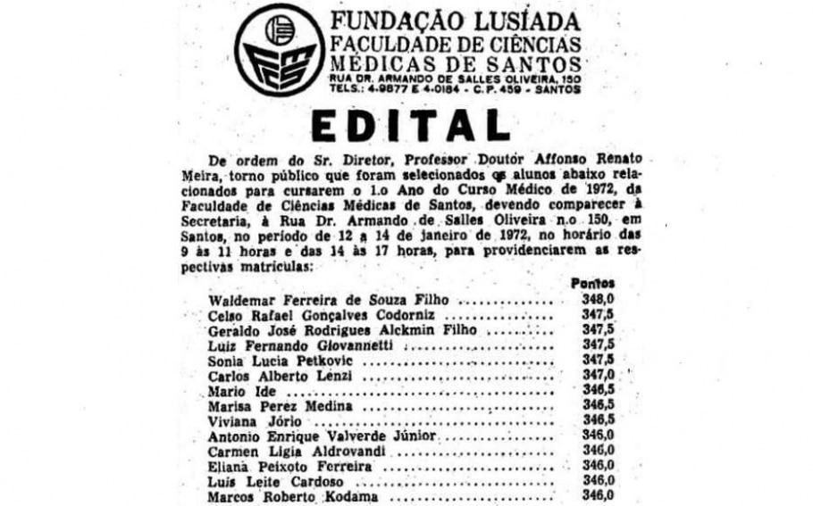 Edital da Faculdade de Ciências Médicas de Santos - Acervo/ Estadão