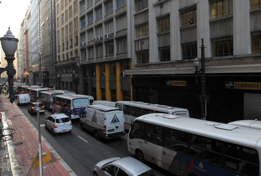 Ato ocorre em frente à Secretaria dos Transportes Metropolitanos, na Rua Boa Vista - Werther Santana/Estadão