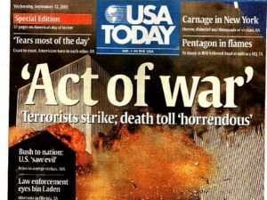 A primeira página de jornais de 12/9/2001. - Reprodução