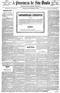 Publicado o primeiro anúncio colorido na pág. 4, edição de 19/10/1879.