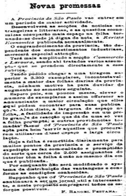 Aumento da tiragem do Estado para 3.300 exemplares.